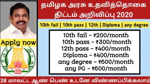 Tamilnadu free stipend system for unemployed youths