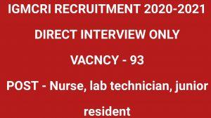 IGMCRI RECRUITMENT PUDUCHERRY 2020-2021