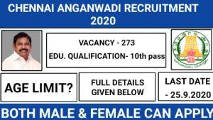 Chennai anganwadi recruitment 2020