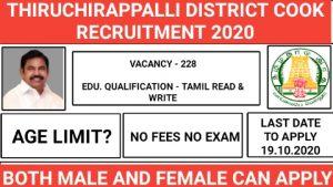 Thiruchirappalli district Adi Dravidar and Tribal Welfare Hostels recruitment for Cooks and Sanitary Workers 2020