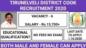 Tirunelveli DBCWO cook recruitment 2020