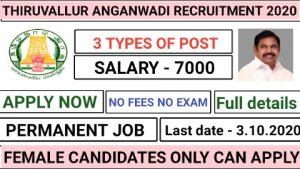 Tiruvallur anganwadi recruitment 2020