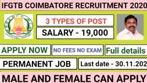 IFGTB recruitment for stenographer forest guard technician 2020