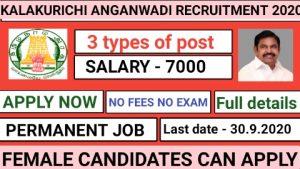 kallakurichi anganwadi recruitment 2020