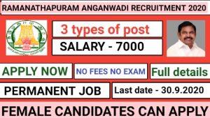 Ramanathapuram anganwadi recruitment 2020