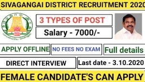 Sivagangai anganwadi recruitment 2020