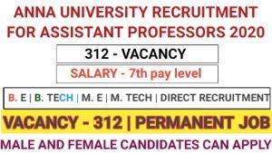 Anna university recruitment for assistant professors 2020