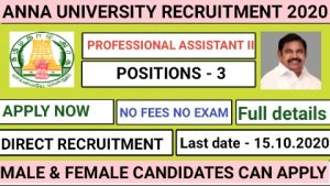 Anna university MIT campus recruitment for Professional Assistant II 2020