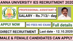 Anna university IES campus recruitment for Professional Assistant II 2020