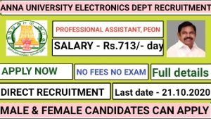 Anna university electronics department recruitment for Professional Assistant III Professional Assistant II Peon 2020