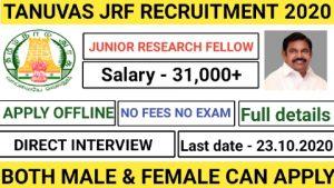 TANUVAS recruitment for Junior research fellow 2020