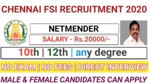 Chennai fishery survey of india FSI recruitment for netmender 2020