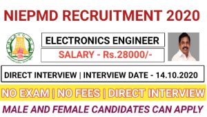 NIEPMD recruitment for Electronics engineer 2020