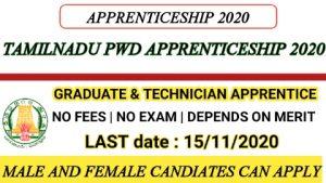 PWD apprenticeship tamilnadu 2020