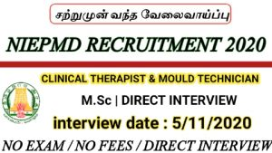 NIEPMD recruitment for Clinical Therapist Ear Mould Technician 2020