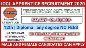 IOCL recruitment for Apprenticeship 2020