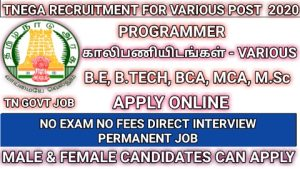 TNEGA recruitment for Programmer Software programmer OS and DB administration 2020
