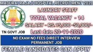 Madurai rajaji hospital recruitment for laundry staff 2020