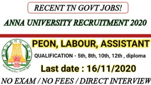 Anna university recruitment for Professional assistant clerical assistant peon labourer 2020