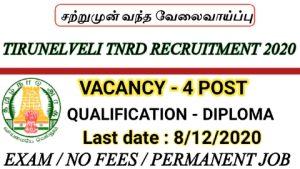 Tirunelveli TNRD recruitment for Overseer 2020
