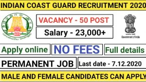 Indian coast guard recruitment for navik domestic branches 2020