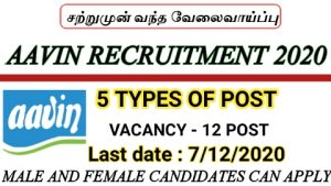 Virudhunagar district Aavin recruitment for manager in various department 2020
