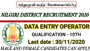 Nilgiri district recruitment for assistant cum data entry operator 2020