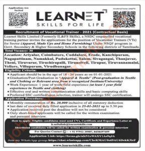 Learnet skills limited Recruitment 2021