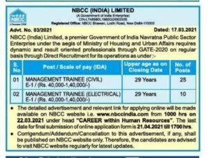 NBCC India limited Recruitment 2021