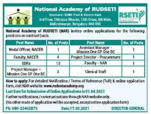 National academy of rudseti Recruitment 2021