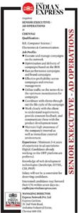 Indian express recruitment 2021 tamil